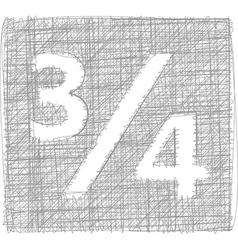 Three quarters sign - freehand symbol vector