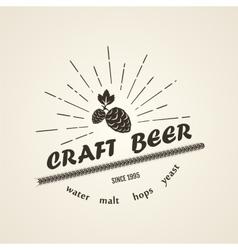 Vintage beer emblem vector image vector image