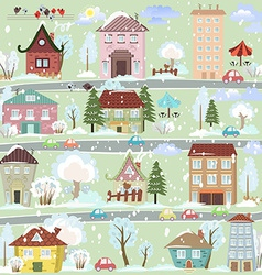 Winter landscape with cartoon houses and trees for vector