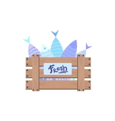 Wooden crate with fish vector