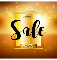 Autumn sale design template with sparkles and gold vector