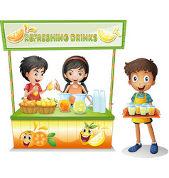 Three kids selling refreshing drinks vector