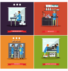 Set of research laboratories posters vector