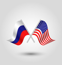 Two crossed russian and american flags vector