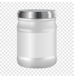 White blank cosmetic with silver lid mockup vector
