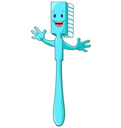 Cartoon toothbrush character vector