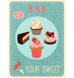 Sweets retro poster vector image
