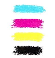 Cmyk colors pastel crayon stains vector