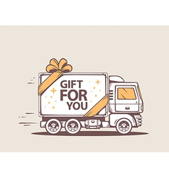 Truck free and fast delivering gift for c vector