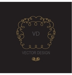 Geometric frame in trendy mono line style gold vector
