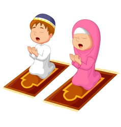 Muslim kid praying vector