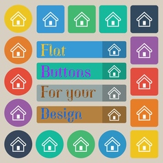 House icon sign set of twenty colored flat round vector