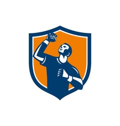 Athlete fist pump crest retro vector