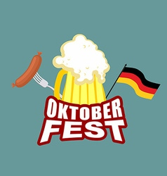 Oktoberfest beer and sausages german flag beer vector