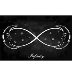Infinity sign with moon vector