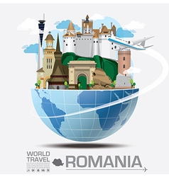 Romania landmark global travel and journey vector