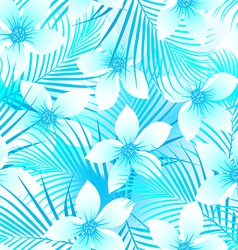 Tropical frangipani hibiscus with palms seamless vector