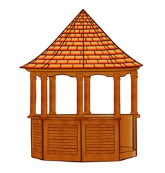 A wooden gazebo on white vector