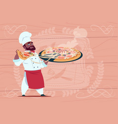 african american chef cook holding pizza smiling vector image vector image