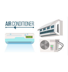 Air conditioner set different types office vector