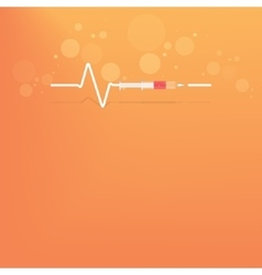 Backgrround with heart bit after drug syringe vector image