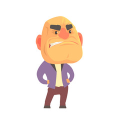 Bald angry man with aggressive facial expressions vector