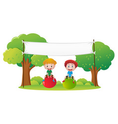 Banner template with two kids on big balls vector