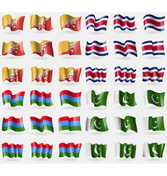 Bhutan costa rica karelia pakistan set of 36 flags vector