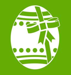 big easter egg icon green vector image