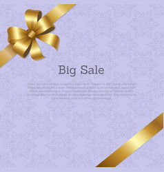 Big sale cover design with golden bow on ribbon vector