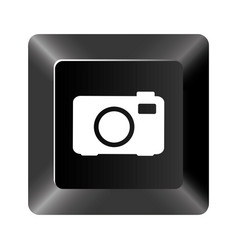 black button camera icon vector image