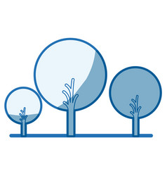 Blue shading silhouette of abstract trees set with vector