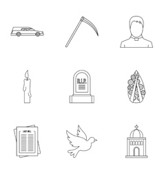 Burial icons set outline style vector