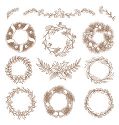 christmas hand drawn wreaths border frames with vector image vector image