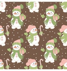 Christmas Snowmen Seamless Pattern vector image