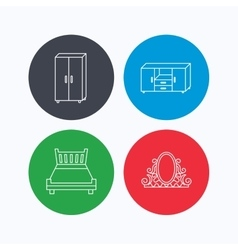 Double bed vintage mirror and cupboard icons vector image