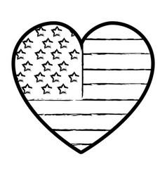 figure nice heart with usa flag inside vector image vector image