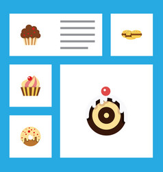 flat cake set of biscuit doughnut sweetmeat and vector image