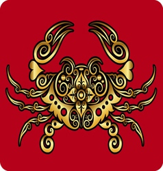 Golden crab ornament vector image vector image