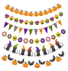 halloween pattern brush garland vector image