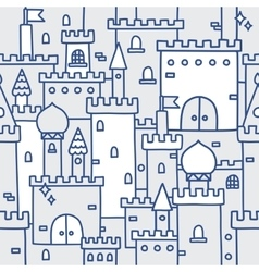 Hand drawn castle doodle tower pattern vector