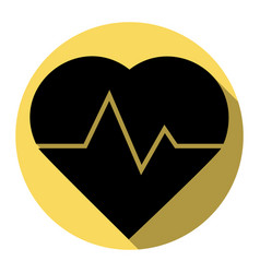Heartbeat sign flat black vector