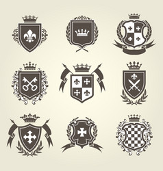 knight shields and royal coat of arms set vector image vector image