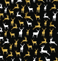Merry christmas gold reindeer seamless pattern vector