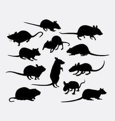 mouse and rat mammal animal silhouette vector image vector image