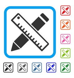 pen and ruler design tools framed icon vector image