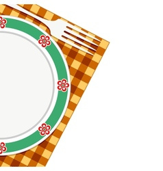 Plate and fork on a napkin vector image vector image