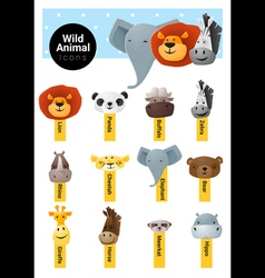 Set of cute animal icons wildlife vector