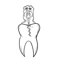 sketch of the tooth with defect and ugly creature vector image