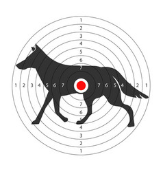 Target for shooting gallery with wild wolf vector